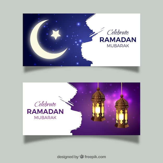Set of ramadan banners with moon and lamps Free Vector
