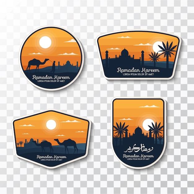 Set of ramadan kareem badges and labels Premium Vector