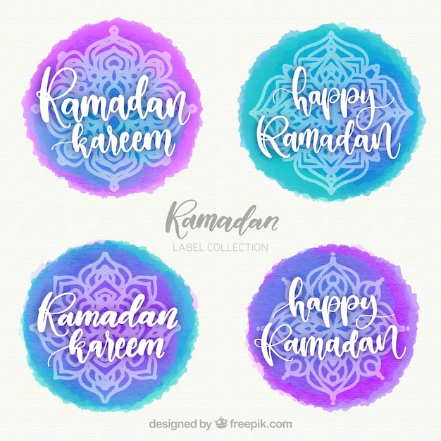 Set of ramadan labels with mandalas in watercolor style Free Vector