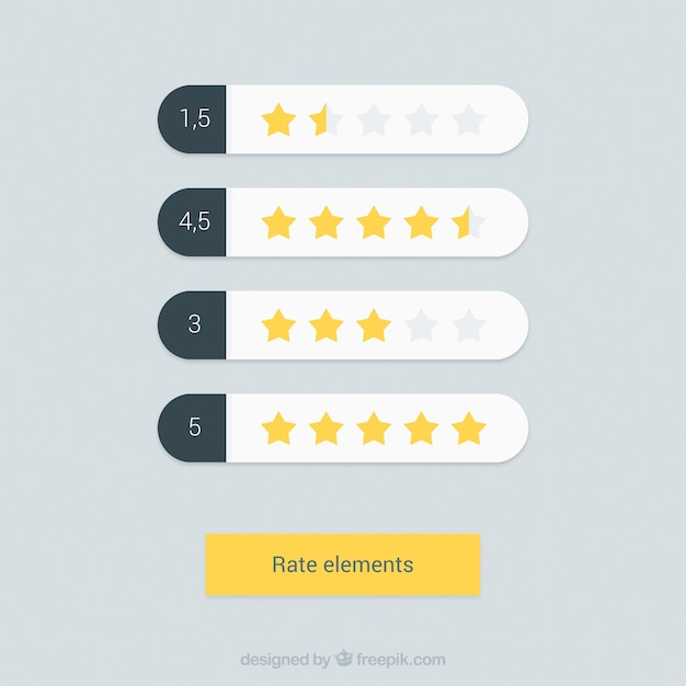 Set of rate elements with yellow stars Free Vector