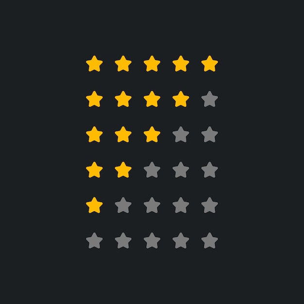 Set of rating symbol for dark theme Free Vector