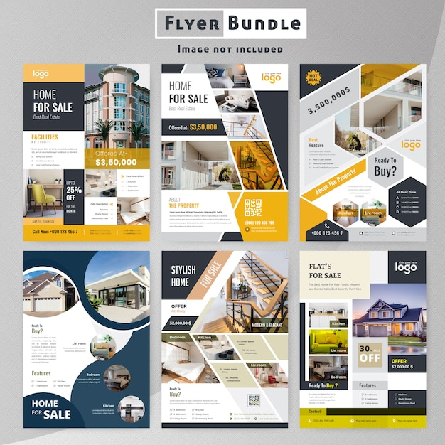 Set of real estate flyer template collection Premium Vector