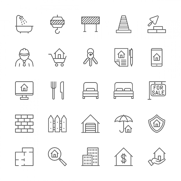 Set of real estate line icons. Premium Vector