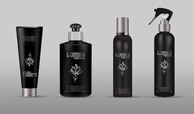 Set of realistic black package for luxury cosmetic product Premium Vector