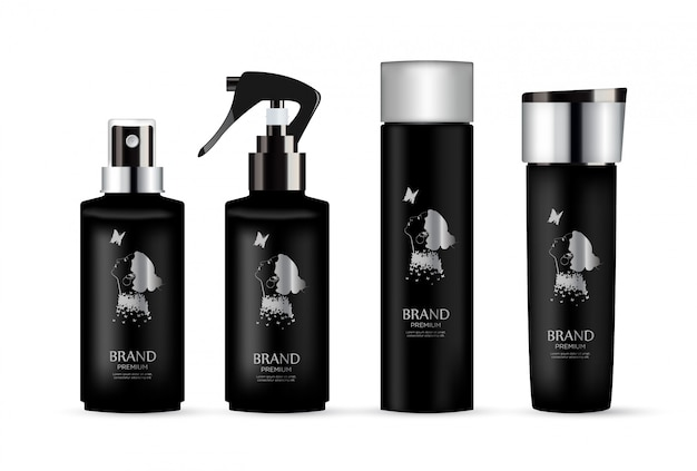 Set of realistic black package luxury cosmetic product. Premium Vector