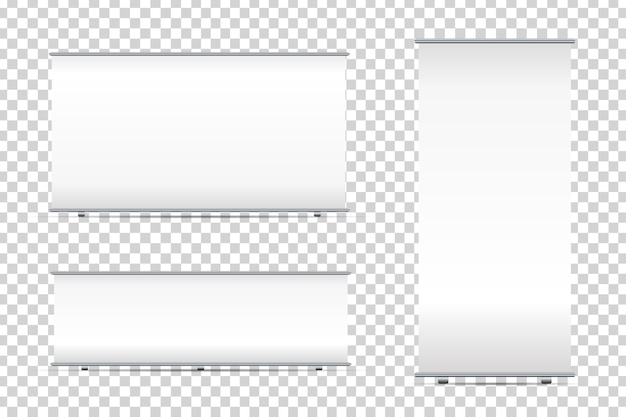 Set of realistic  blank roll-up banners on the transparent background for decoration and advertising. white stand mock up templates vector illustration. Premium Vector