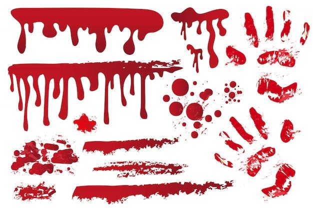 사실적인 피의 줄무늬를 설정하십시오. 혈액에 손자국. 붉은 얼룩, 스프레이, 얼룩. 방울, 흰색 배경에 Bloodstains의 물이 뚝뚝 떨어지는. 할로윈 개념. 삽화. 프리미엄 벡터