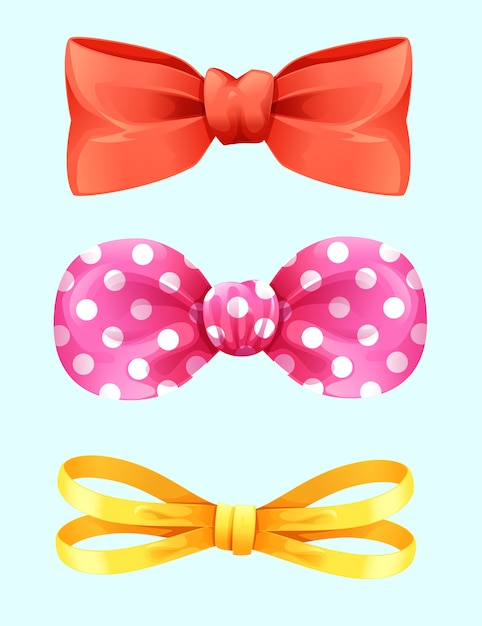 Set realistic bows decoration isolated vector Premium Vector