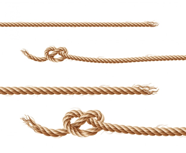 Set of realistic brown ropes, jute or hemp twisted cords with loops and knots Free Vector