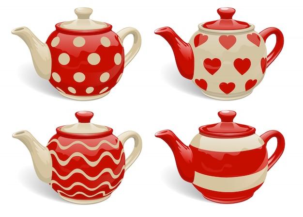 Set of realistic ceramic teapots. Premium Vector