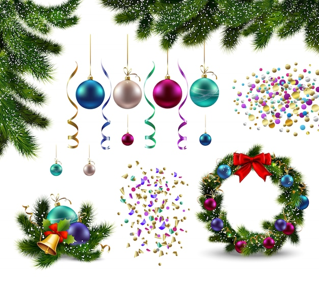 Set of realistic christmas decorations fir branches garland with baubles and confetti isolated Free Vector