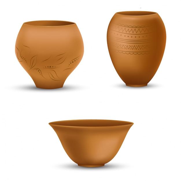 Set of realistic clay pots Premium Vector
