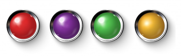 Set of realistic colored buttons with metallic borders. Premium Vector