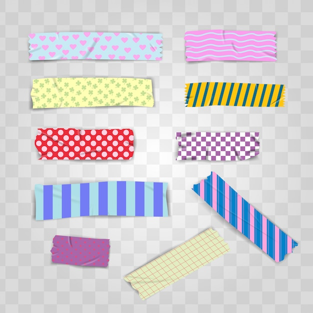 Set realistic colorful pattern scotch washi tape Premium Vector