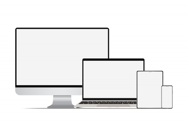 Premium Vector   Set of realistic computer laptop tablet and smartphone.
