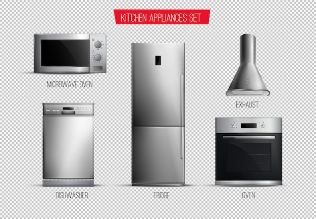 Set of realistic contemporary kitchen appliances front view isolated on transparent Free Vector