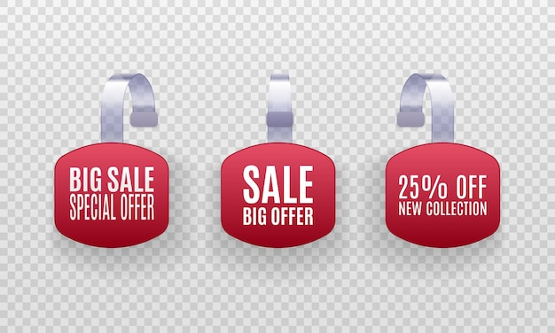 Set of realistic detailed 3d red wobbler promotion sale labels isolated on a transparent background. Premium Vector
