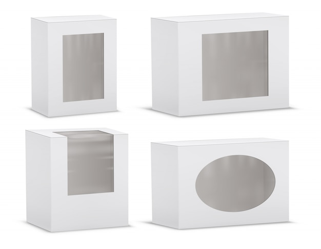 Set of realistic empty cardboard boxes with transparent windows Free Vector
