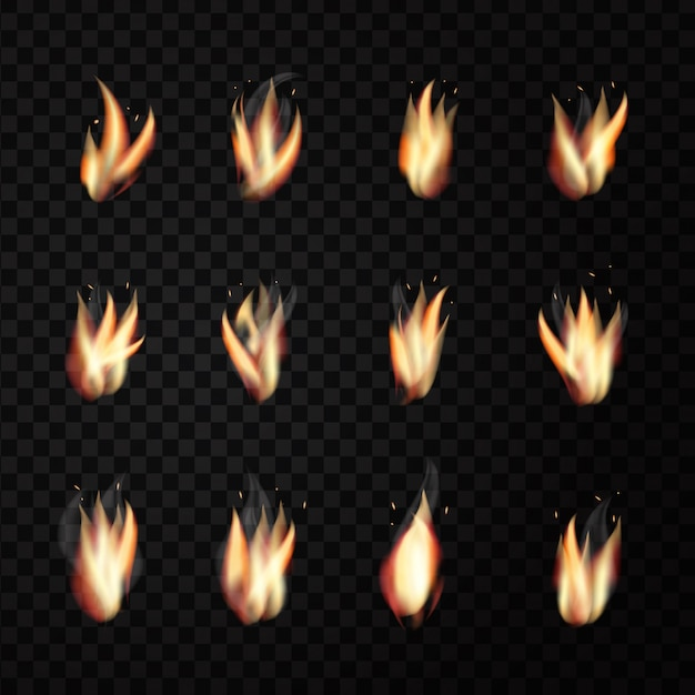 Set of realistic  fire flames on the transparent background for decoration. Premium Vector