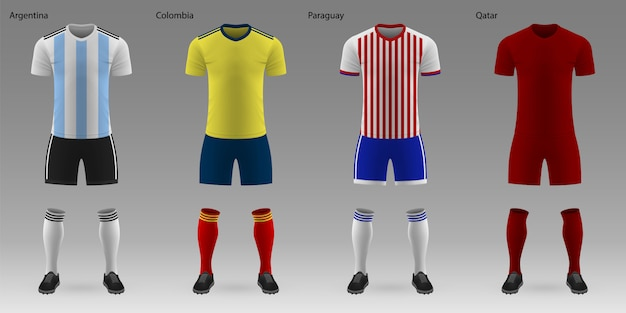 Set of realistic football kits Premium Vector