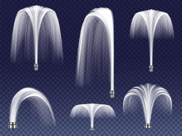 Impostare fontane realistiche di varie forme. grandi e piccoli geyser, getti d'acqua che cadono Vettore gratuito