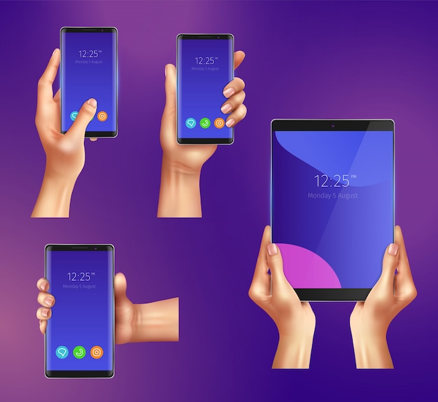 Set of realistic gadgets smart phones and tablet in female hands isolated illustration Free Vector