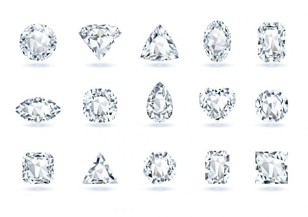 Set of realistic gems Premium Vector