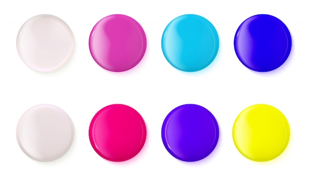 Set of realistic glossy buttons Premium Vector
