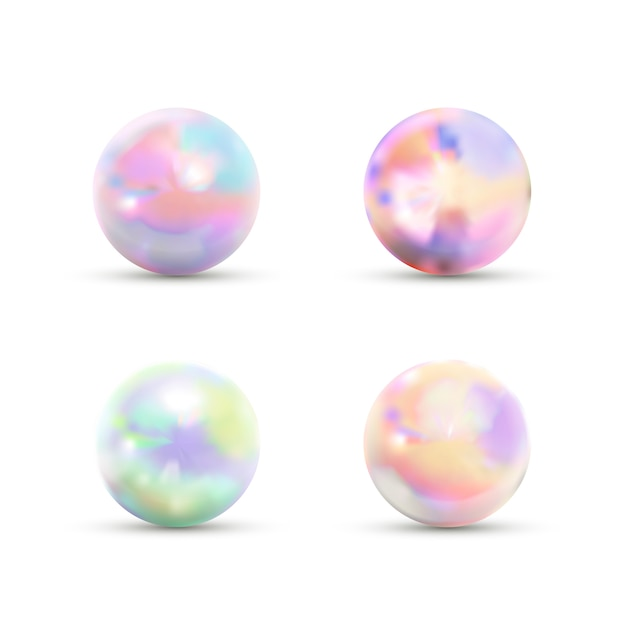 Set of realistic glossy marble balls with rainbow glare isolated on white Premium Vector