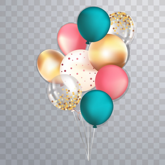 Set of realistic glossy metallic and transparent balloons Premium Vector
