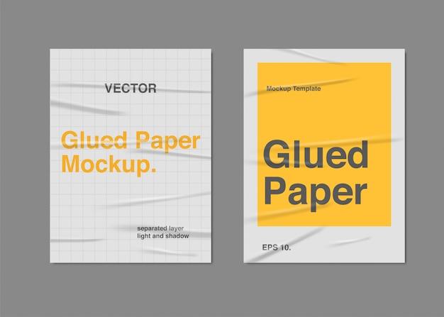 Set realistic glued paper poster Premium Vector