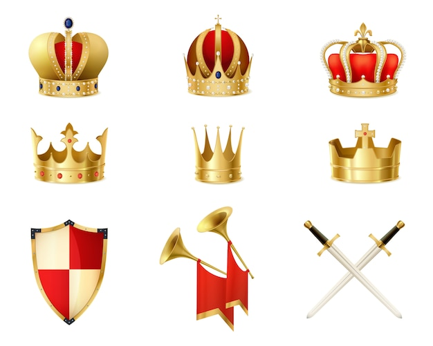 Set of realistic golden royal crowns Free Vector