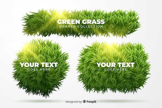 Set of realistic grass banner Free Vector