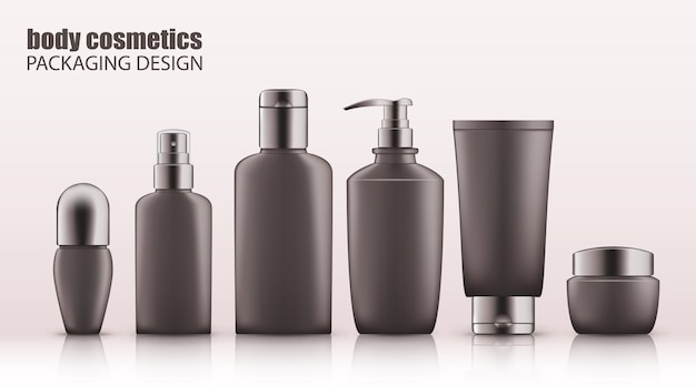 Set of realistic gray bottles with silver cap for body cosmetics Premium Vector