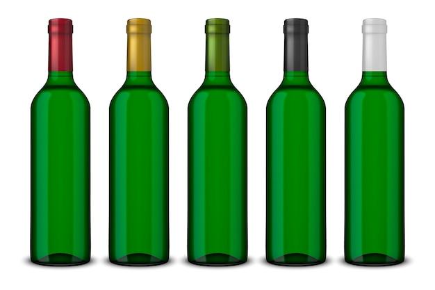 Установить реалистичные зеленые бутылки вина без изолированных этикеток Premium векторы