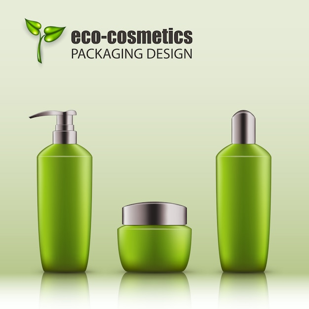 Set of realistic green glass bottles with silver cap for eco-cosmetic Premium Vector