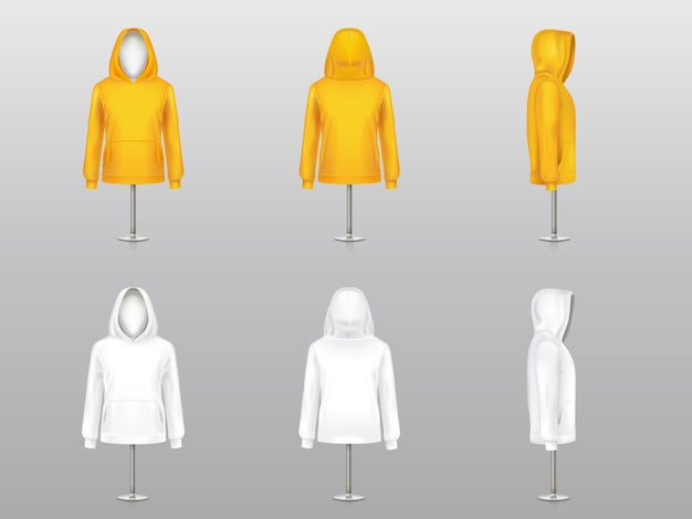 Set of realistic hoodies on mannequins and metal poles, sweatshirt model with long sleeve Free Vector