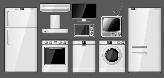 Set of realistic household appliances Premium Vector
