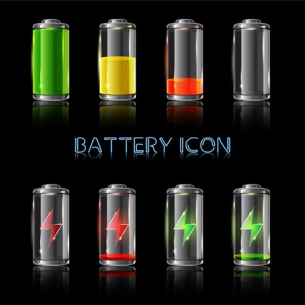 Set of a realistic illustration battery level indicators Premium Vector