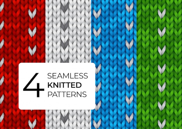 A set of realistic knitted patterns. colored seamless knitted textures for the background of the site, greeting cards, wallpapers, invitations, banners.  illustration for a dark background. Premium Vector