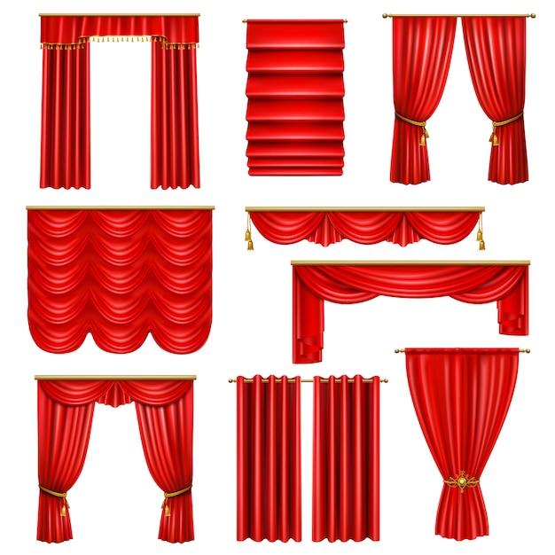 Insieme delle tende rosse di lusso realistiche di varie sulle cornici con gli elementi dorati isolati Vettore gratuito