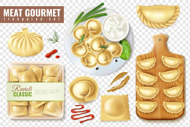 Set of realistic meat gourmet food  with isolated images of dumplings and ravioli vector illustration Free Vector