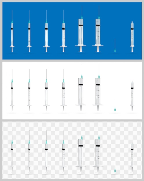 Set of realistic medical syringes Premium Vector
