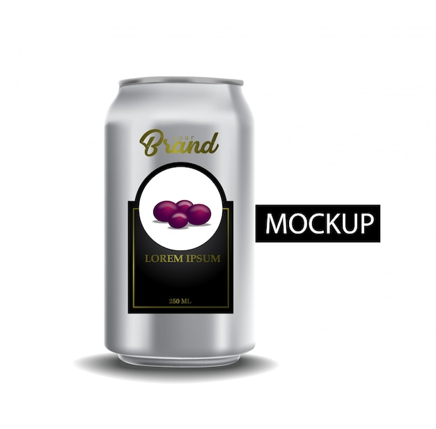 Set of realistic metallic cans for beer or soft drink. Premium Vector