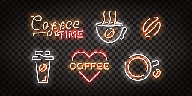 Set of realistic  neon sign of coffee logo for template decoration and covering on the transparent background. concept of cafe and coffee shop. Premium Vector
