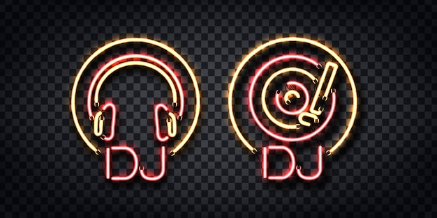 Set of realistic  neon sign of dj for template decoration and layout on the transparent background. Premium Vector