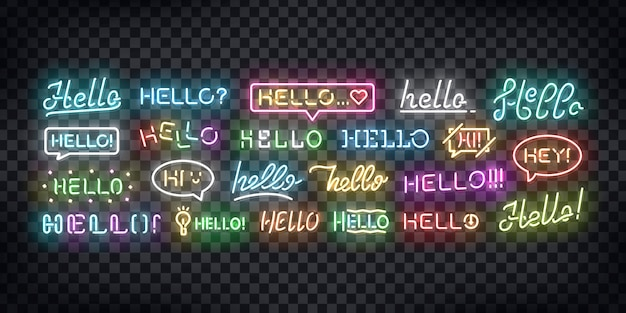 Set of realistic  neon sign of hello greeting and welcoming concept for decoration and covering on the transparent background. Premium Vector
