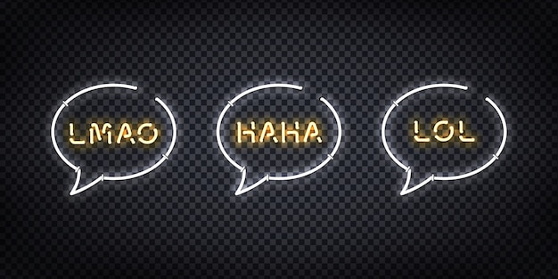 Set of realistic  neon sign of lol, haha, lmao logo for decoration and covering on the transparent background. concept of social media and laugh. Premium Vector
