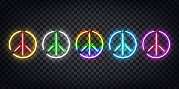 Set of realistic  neon sign of peace logo for decoration and covering on the transparent background. concept of happy international peace day. Premium Vector