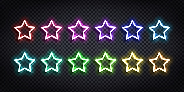 Set of realistic  neon sign of star logo with different colors for template decoration and covering on the transparent background. Premium Vector